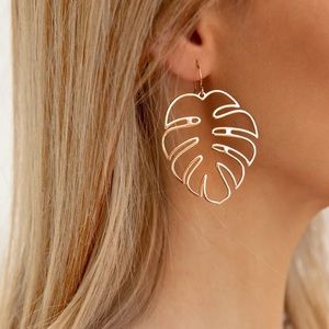 Jewelry - Boho Style Rose Gold Leaves Drop Earrings